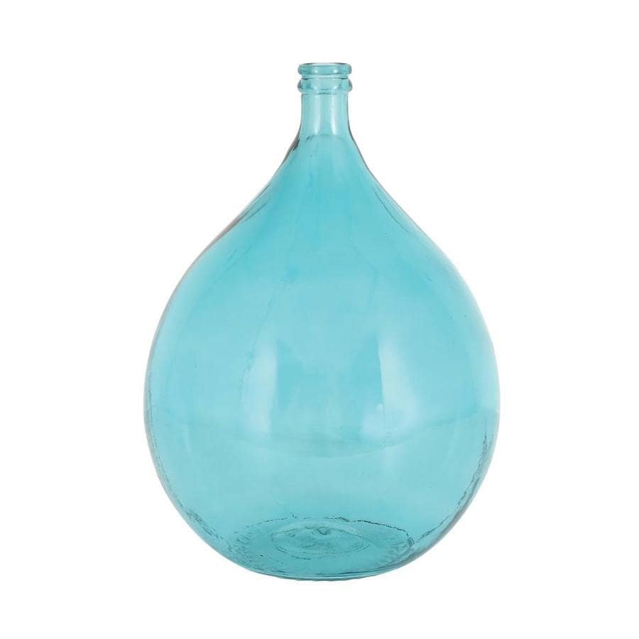 Grayson Lane Coastal Style Turquoise Glass Vase 15 Inw 22 Inh In The Decorative Accessories Department At Lowes Com