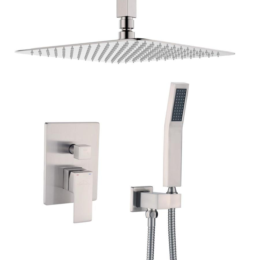 Casainc Ceiling Mounted Shower System With 12 In Square Rainfall Shower Head And Handheld Shower Head Set Brushed Nickel In The Shower Systems Department At Lowes Com