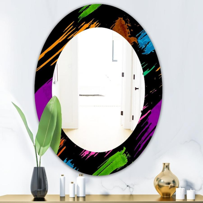 Designart Obsidian Impressions 6 Ft Bohemian And Eclectic Mirror Oval Or Round Wall Mirror In The Mirrors Department At Lowes Com