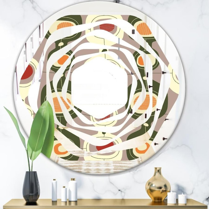 Designart Retro Abstract Design X Modern Round Wall Mirror Whirl In The Mirrors Department At Lowes Com