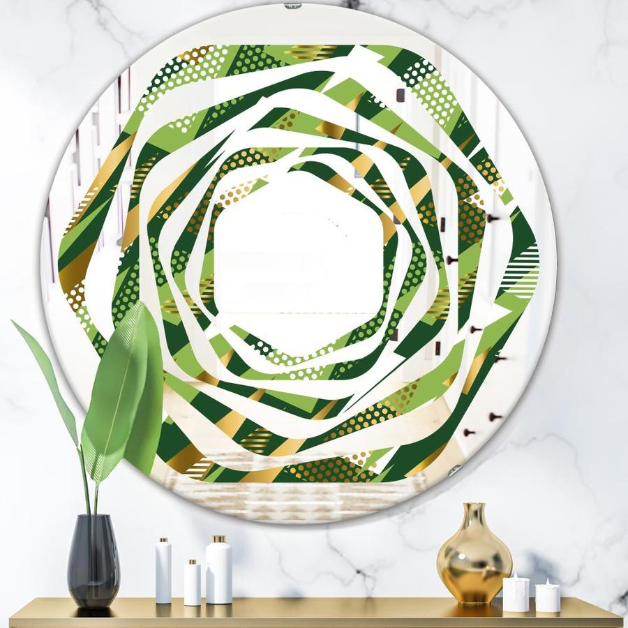 Designart Triangular Gold And Green Design I Modern Round Wall Mirror Whirl In The Mirrors Department At Lowes Com
