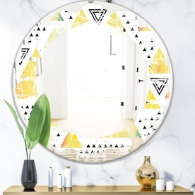 Designart Triangular Retro Design Ii Modern Round Wall Mirror Leaves In The Mirrors Department At Lowes Com