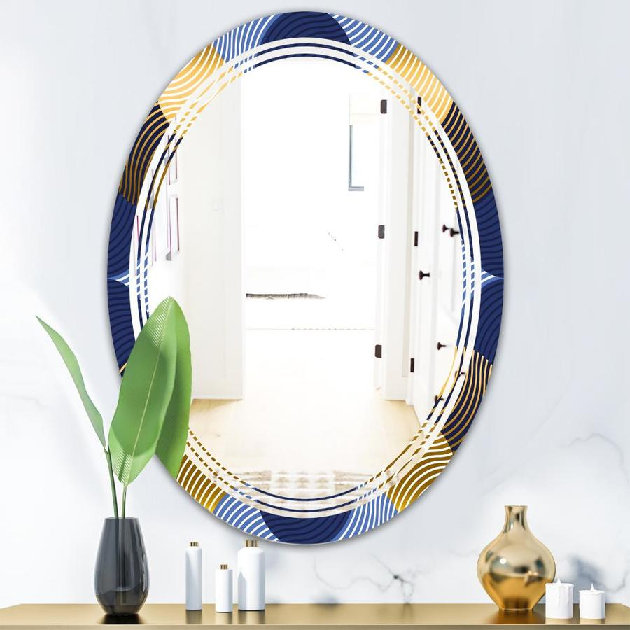 Designart Retro Luxury Waves In Gold And Blue Ii Modern Oval Wall Mirror Triple C In The Mirrors Department At Lowes Com