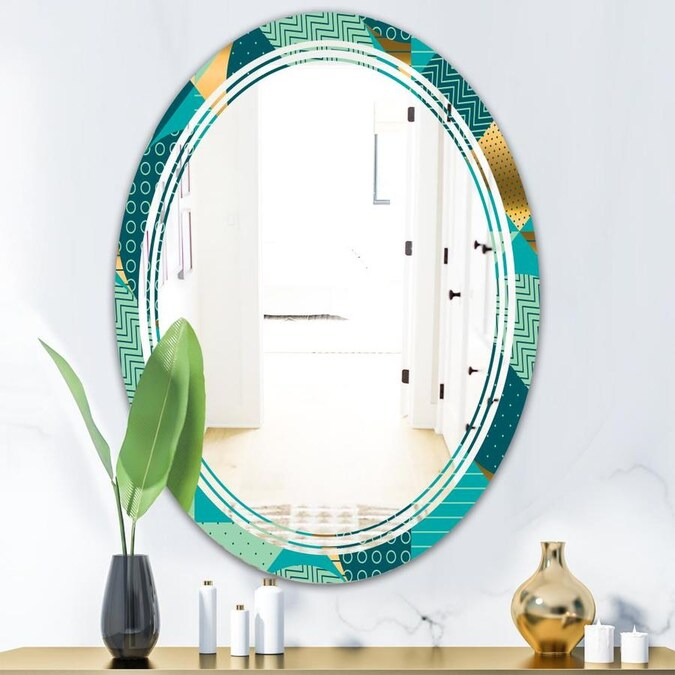 Designart Gold And Blue Dynamics Ii Modern Oval Wall Mirror Triple C In The Mirrors Department At Lowes Com