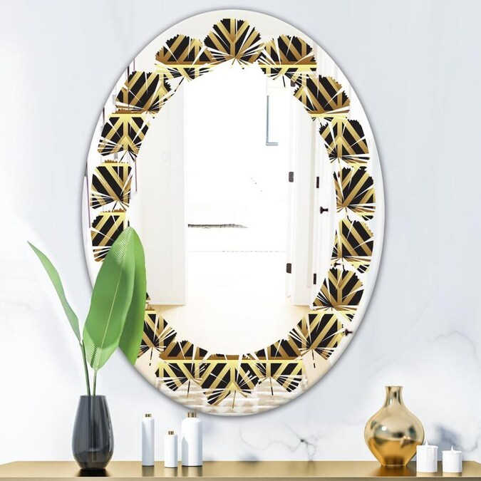 Designart Golden Luxury Metallic Geometrics Xiv Modern Oval Wall Mirror Leaves In The Mirrors Department At Lowes Com