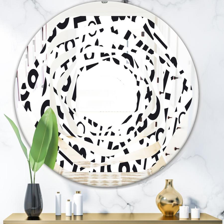 Designart Monochrome Geometric Pattern Xiii Modern Round Wall Mirror Whirl In The Mirrors Department At Lowes Com