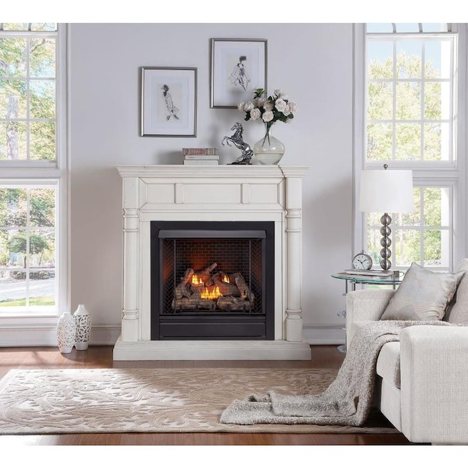 Natural Gas Fireplace System, Ventless Natural Gas Fireplace With Mantle