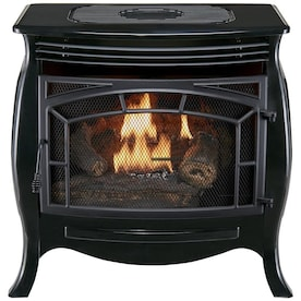 Duluth Forge Duluth Forge Dual Fuel Vent Less Gas Stove 26 000 Btu Remote Control Gloss Black Finish In The Gas Stoves Department At Lowes Com