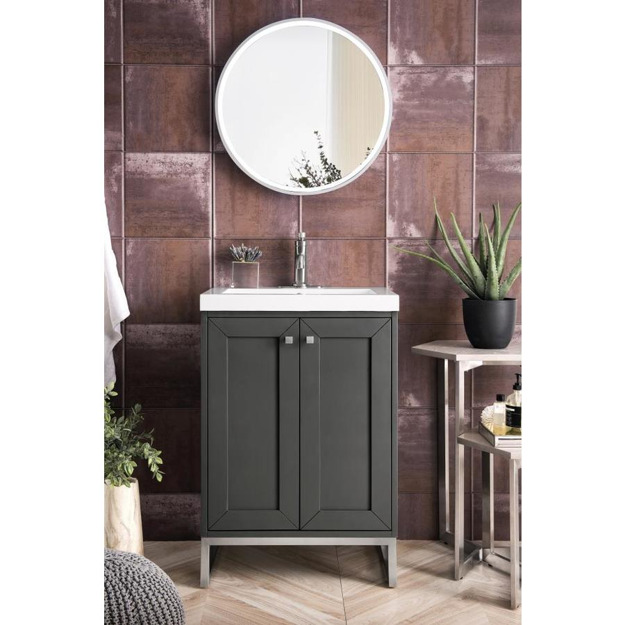 James Martin Vanities Chianti 24 In Mineral Grey Single Sink Bathroom Vanity With Mineral Grey Solid Surface Top In The Bathroom Vanities With Tops Department At Lowes Com