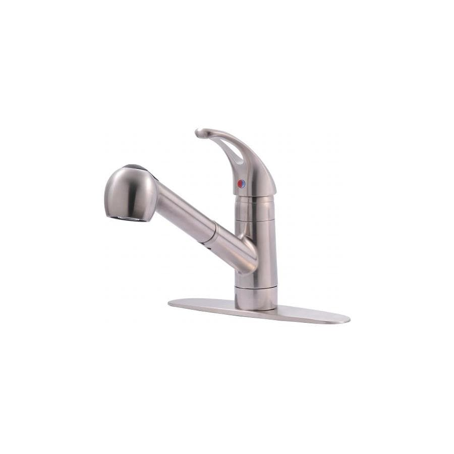 Ultra Faucets Ultra Faucets Uf12003 Ss Single Handle Kitchen Faucet With Pull Out Spray In The Shop Equipment Department At Lowes Com