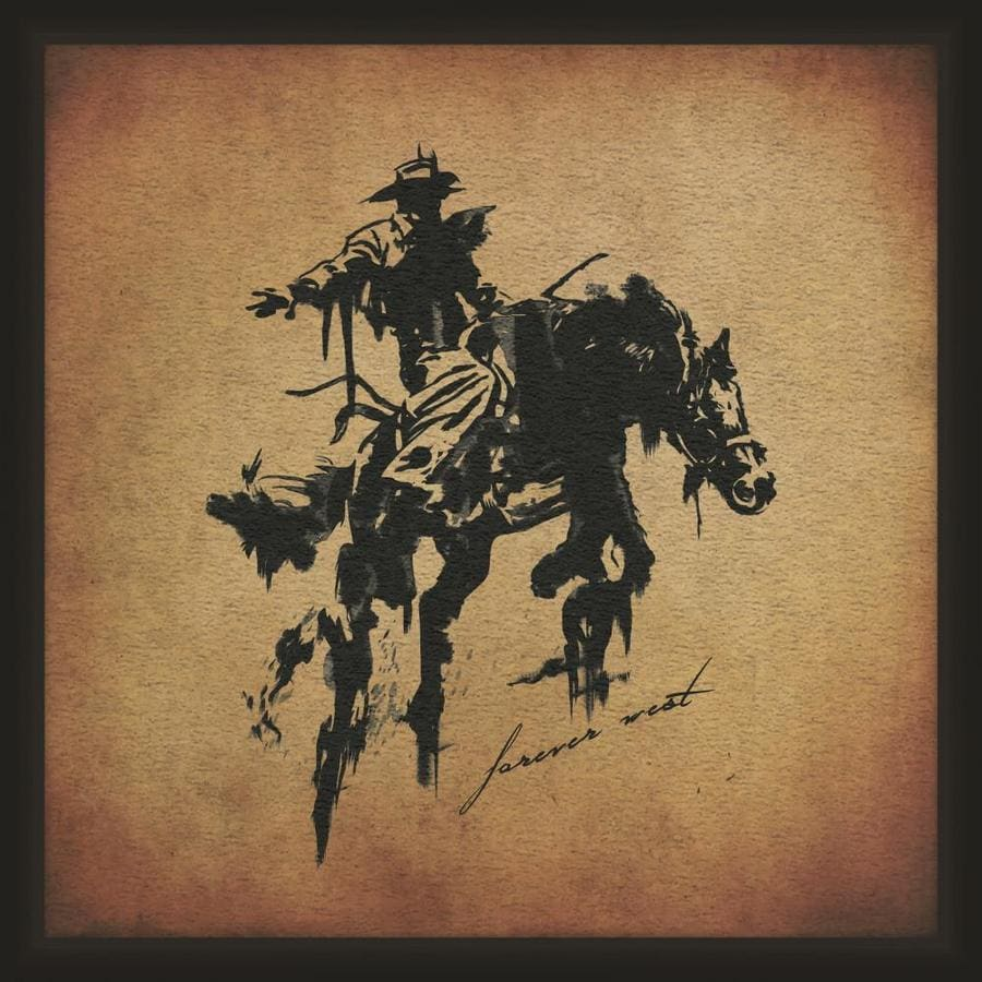 Ptm Images Rodeo Cowboy 14 In X 14 In Framed Art In The Wall Art Department At Lowes Com