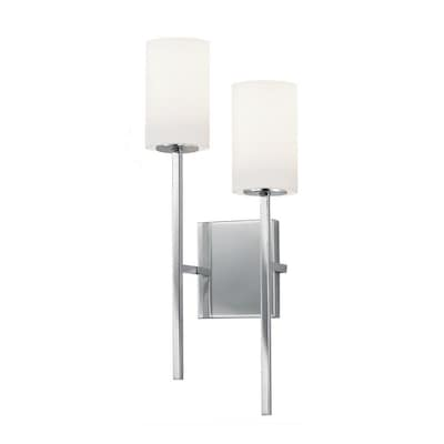 Justice Design Group Fusion Rise 2 Light Wall Sconce Polished Chrome Finish Opal Glass Shade In The Wall Sconces Department At Lowes Com