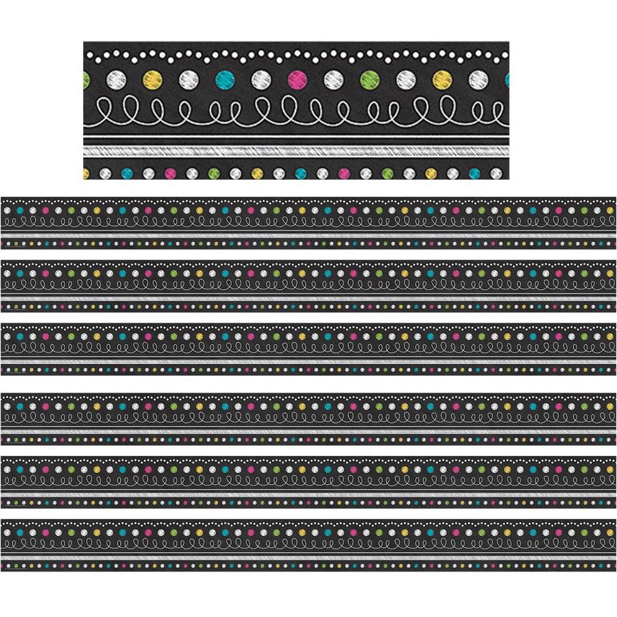 Teacher Created Resources Chalkboard Brights Straight Border Trim 35 Ft Per Pack 6 Packs In The Classroom Decorations Department At Lowes Com