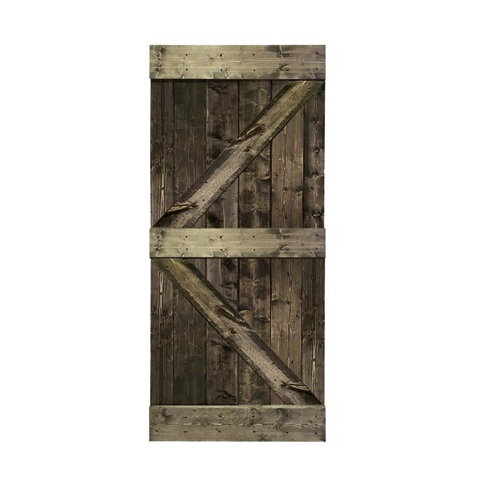 Calhome K Series 30 In X 84 In Pre Assembled Espresso Stained Solid Pine Wood Interior Sliding Barn Door Slab In The Barn Doors Department At Lowes Com