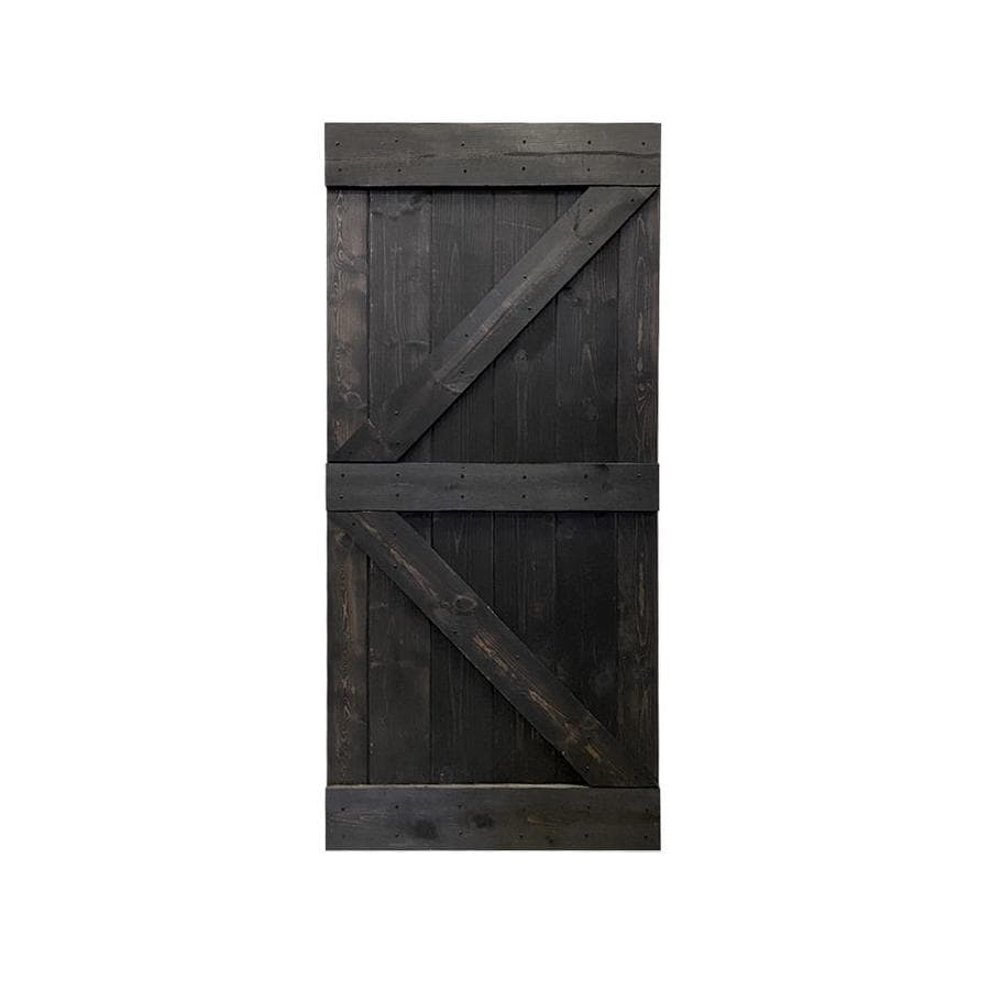 Calhome K Series 30 In X 84 In Pre Assembled Charcoal Black Stained Solid Pine Wood Interior Sliding Barn Door Slab In The Barn Doors Department At Lowes Com