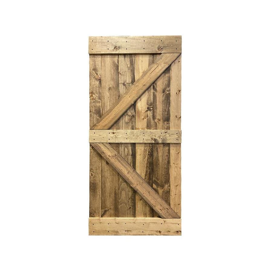 Calhome K Series 30 In X 84 In Pre Assembled Weather Oak Stained Solid Pine Wood Interior Sliding Barn Door Slab In The Barn Doors Department At Lowes Com