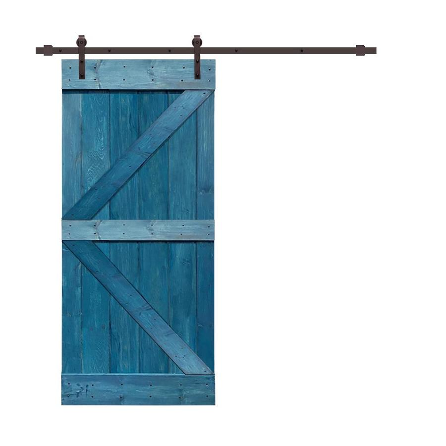 Calhome K Series 30 In X 84 In Pre Assembled Ocean Blue Stained Wood Interior Sliding Barn Door With Hardware Kit In The Barn Doors Department At Lowes Com