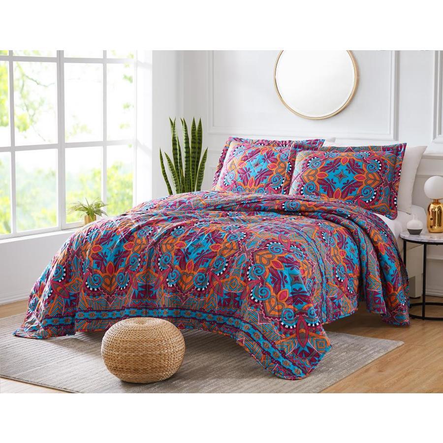 Olivia Gray Georgetown Kaleidoscope 3 Piece Reversible Quilt Set In Queen In The Comforters Bedspreads Department At Lowes Com