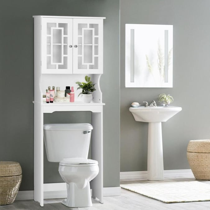 Wellfor 67 In Height White Over The Toilet Etageres Bathroom Space Saver Storage Cabinet With 2 Doors And Adjustable Shelf In The Etageres Department At Lowes Com