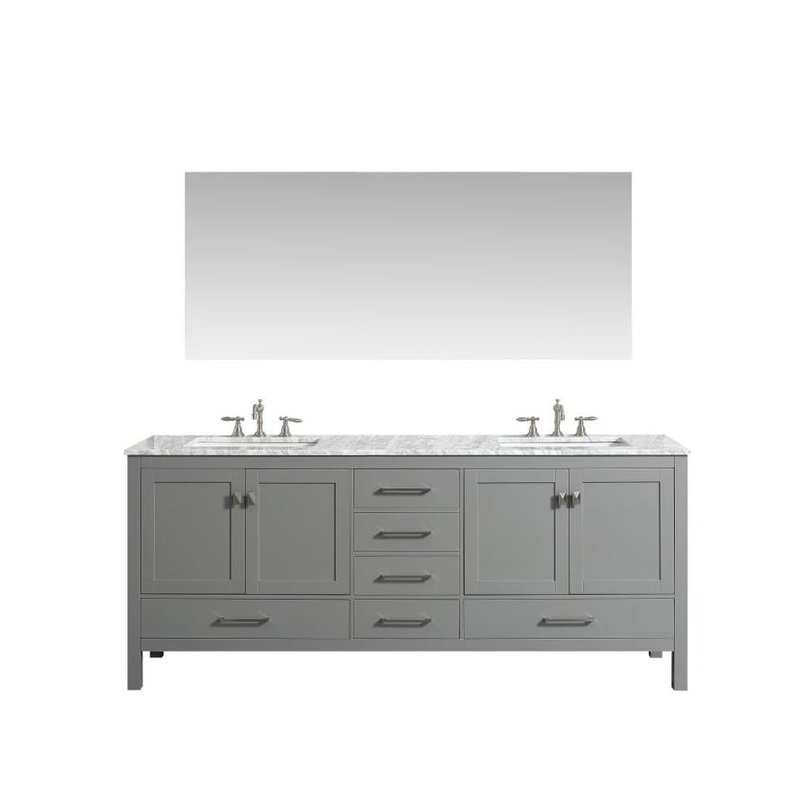 Eviva Aberdeen 78 In Gray Undermount Double Sink Bathroom Vanity With White Natural Marble Top In The Bathroom Vanities With Tops Department At Lowes Com