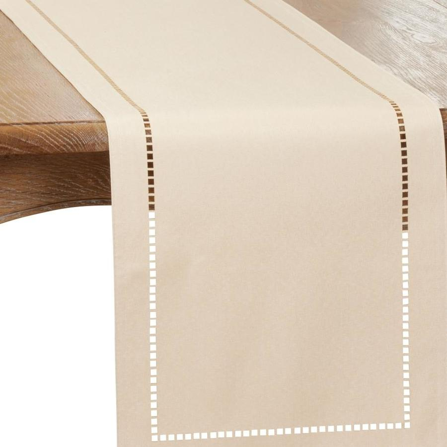 Saro Lifestyle Saro Lifestyle 9738 I1490b 14 X 90 In Oblong Ivory Laser Cut Hemstitch Table Runner In The Kitchen Tools Department At Lowes Com