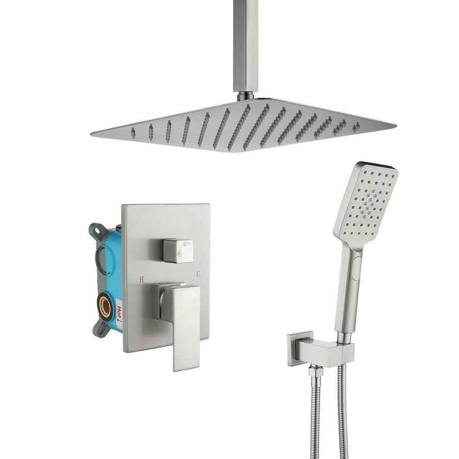 Casainc Ceiling Mounted Bathroom Shower Faucets Set With 12 In Square Rainfall Shower Head Rainfall Shower System With Anti Scald Valve And Handheld Shower Brushed Nickel In The Shower Systems Department At Lowes Com