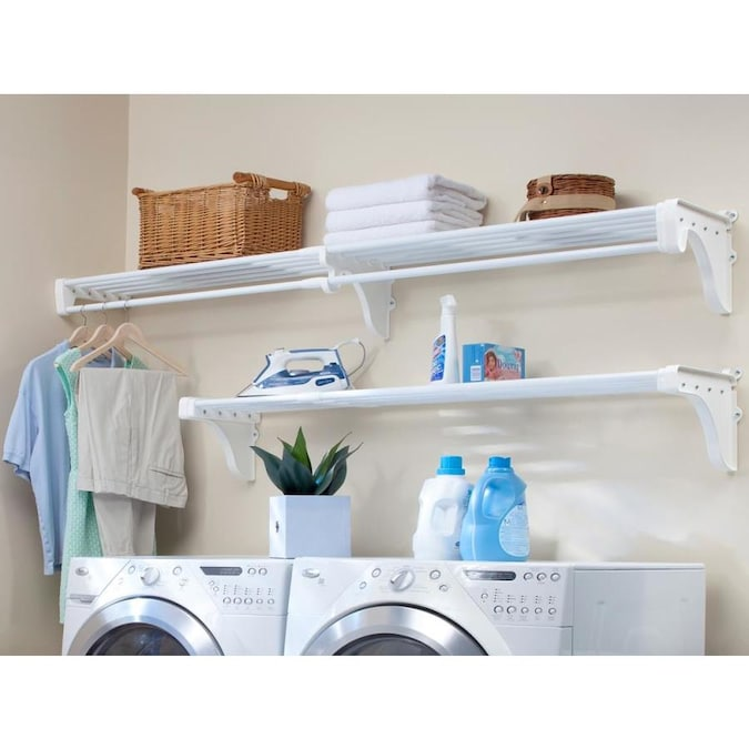 Ez Shelf Ez Shelf Diy Expandable Laundry Room Shelving Kit 1 Rod And Shelf Unit And 1 Shelf Unit Each Expands 40 75 In White Mounts To Side And Back Wall With