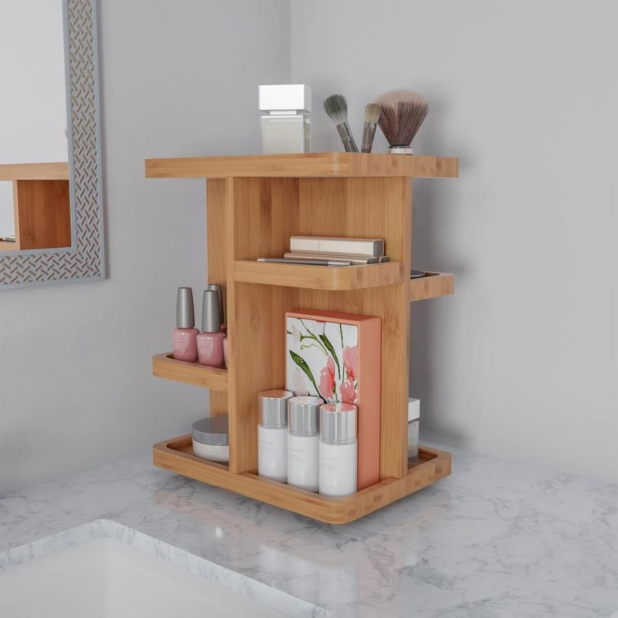 Hastings Home Makeup Organizer Rotating Eco Friendly Compact Modern Bamboo Skincare Cosmetic And Vanity Carousel For Bedroom Bathroom Or Dorm By Hastings Home In The Bathroom Vanity Accessories Department At Lowes Com