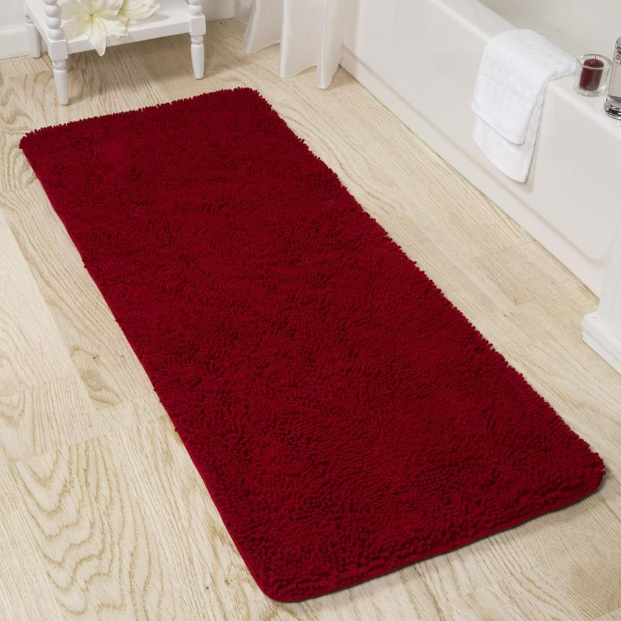 Hastings Home Hastings Home Memory Foam Shag Bath Mat 2 Ft By 5 Ft Burgundy In The Bathroom Rugs Mats Department At Lowes Com