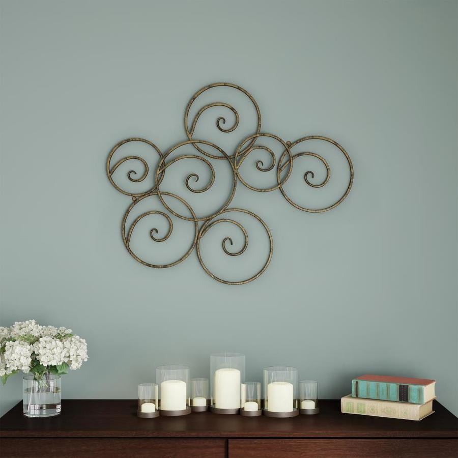 Hastings Home Wall Decor Metallic Interlocking Scrolled Circles Geometric Modern Art For Living Room Bedroom Or Kitchen By Hastings Home Gold In The Wall Accents Department At Lowes Com