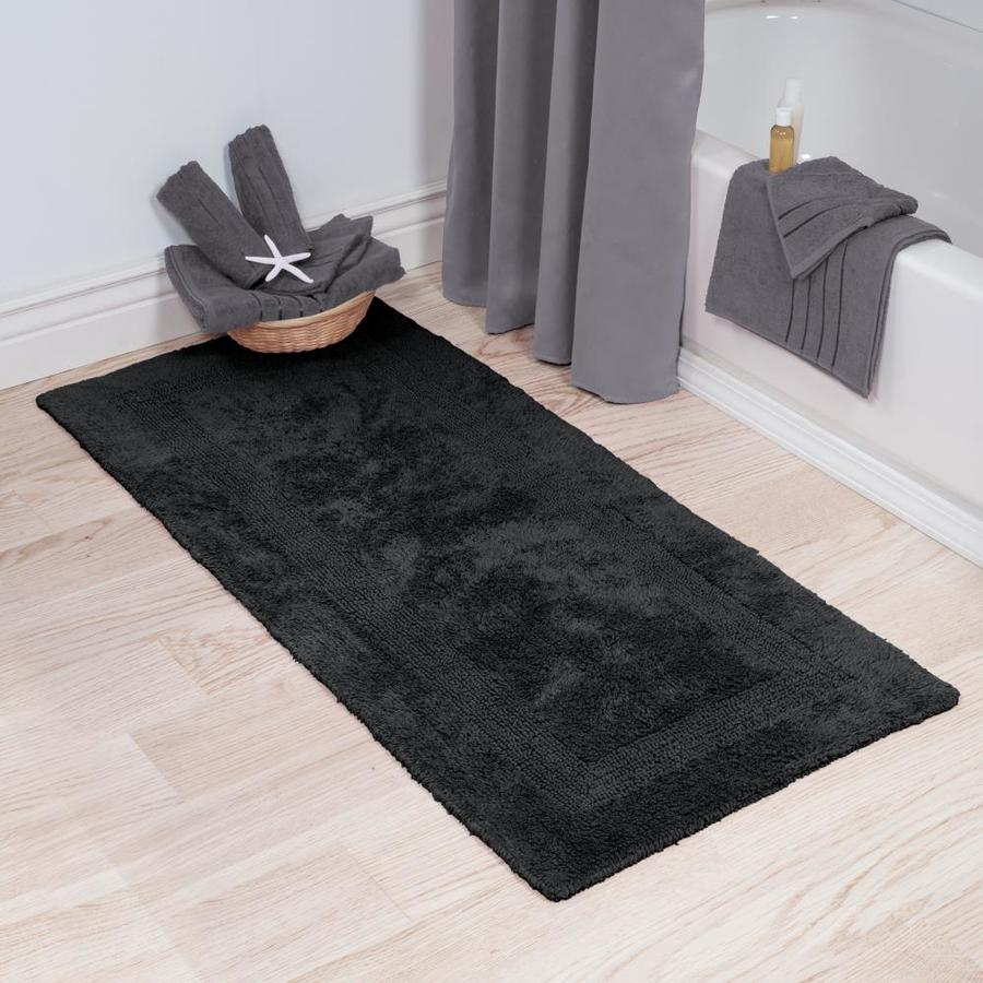 Hastings Home Hastings Home Bathroom Mats 24 In X 60 In Black Cotton Bath Mat In The Bathroom Rugs Mats Department At Lowes Com