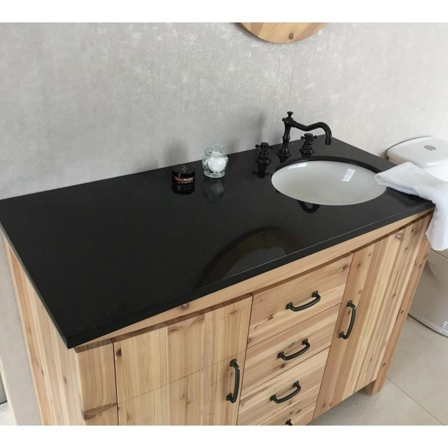 Bellaterra Home Bellaterra Home 48 In Single Right Side Sink Vanity Solid Fir Galaxy Natural Black In The Endless Aisle Department At Lowes Com