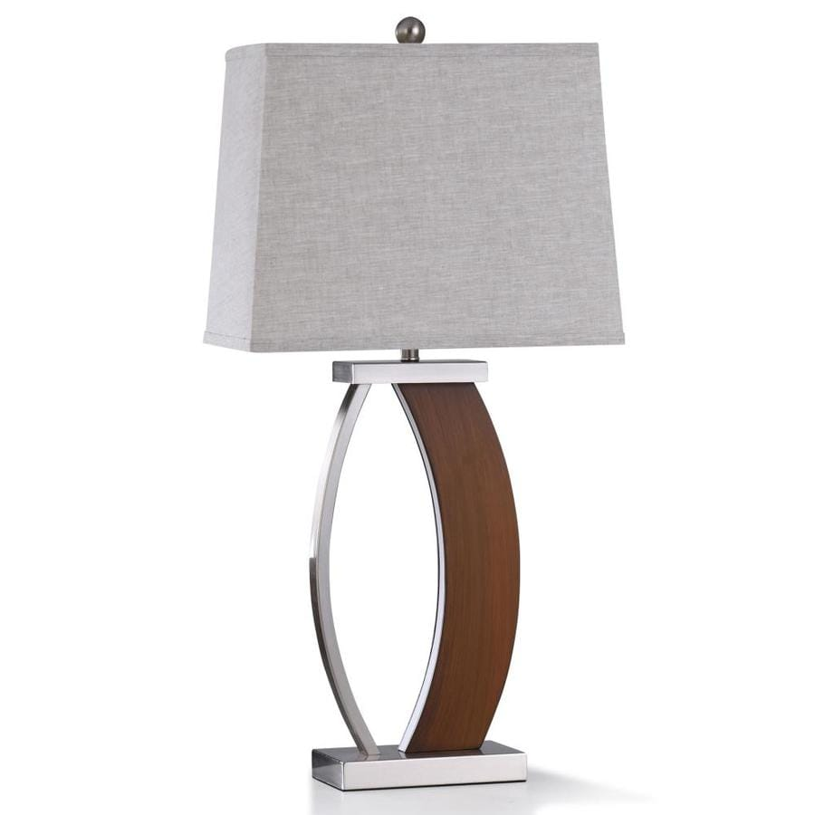 Stylecraft Home Collection 32 In Brown Wood And Brushed Steel Metal 3 Way Table Lamp With Linen Shade In The Table Lamps Department At Lowes Com