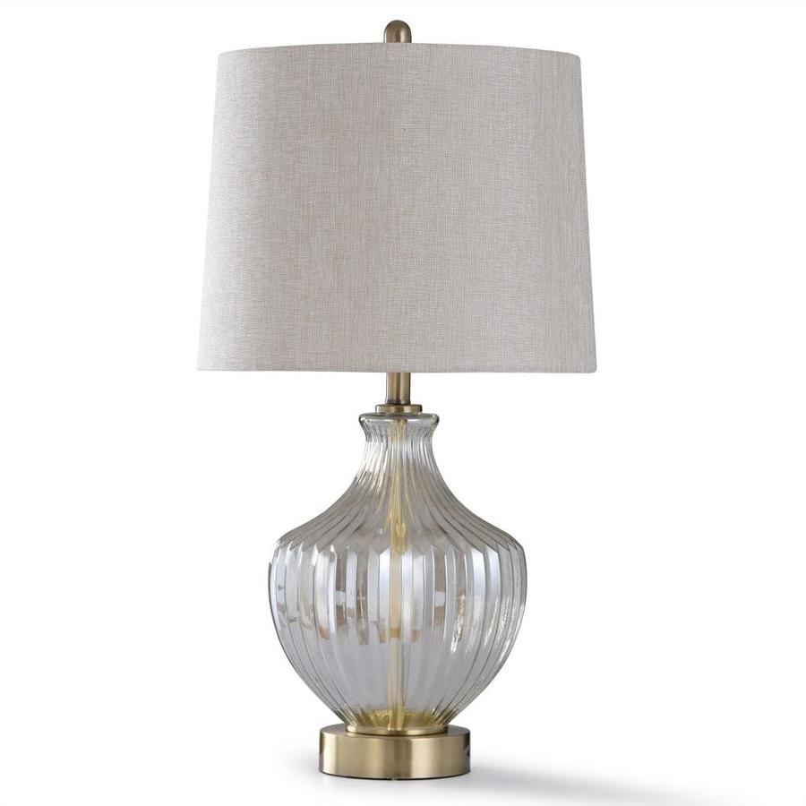 Stylecraft Home Collection 32 In Lightly Smoked Glass And Brushed Steel Metal 3 Way Table Lamp With Linen Shade In The Table Lamps Department At Lowes Com