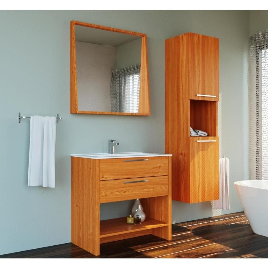 Casa Mare 39 In Single Sink Ry Design Free Standing Bathroom Vanity Set With Mirror Veneer Light Oak In The Endless Aisle Department At Lowes Com