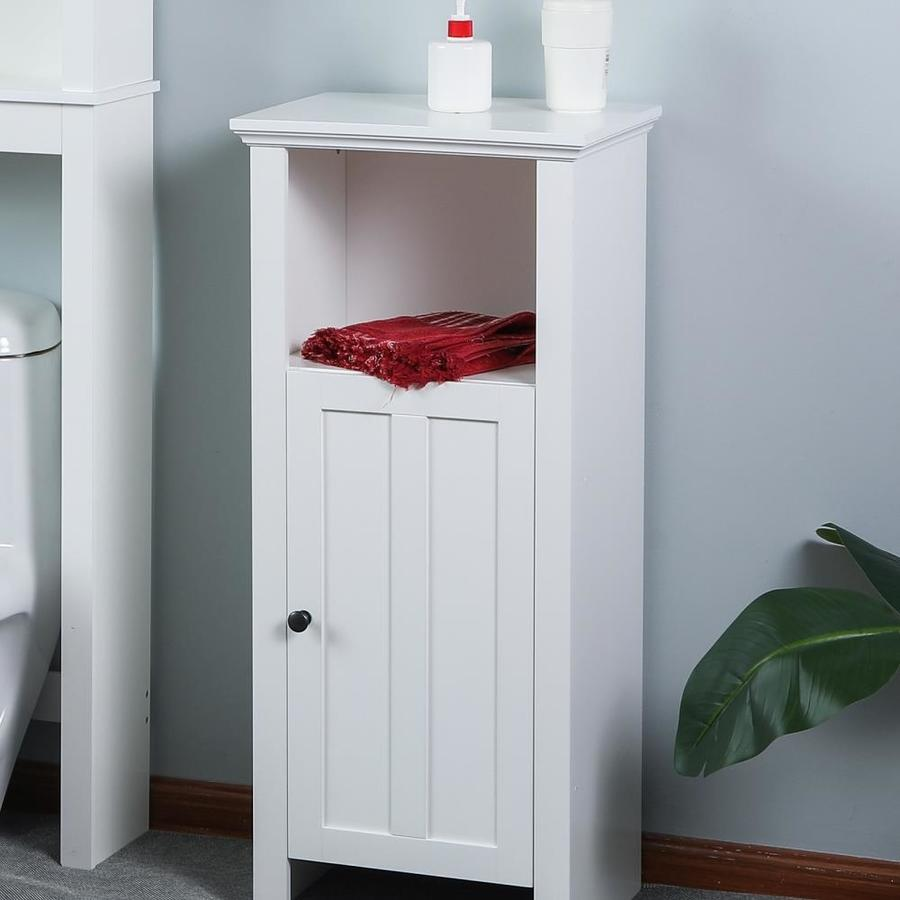 Luxen Home White Wood Floor Bathroom Cabinet In The Endless Aisle Department At Lowes Com