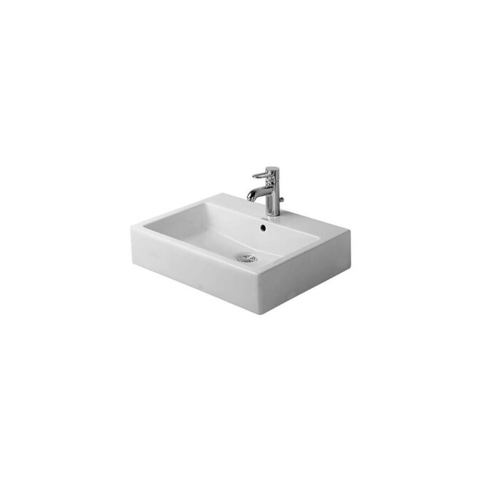 Duravit 454600000 Vero Wall Mount Bathroom Sink With Overflow And Tap Platform In The Endless Aisle Department At Lowes Com