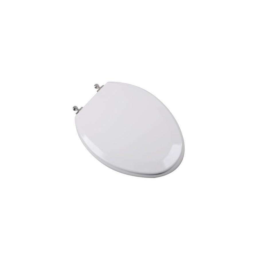 Premium Molded Elongated Wood Toilet Seat With Brushed Nickel Hinges White In The Endless Aisle Department At Lowes Com