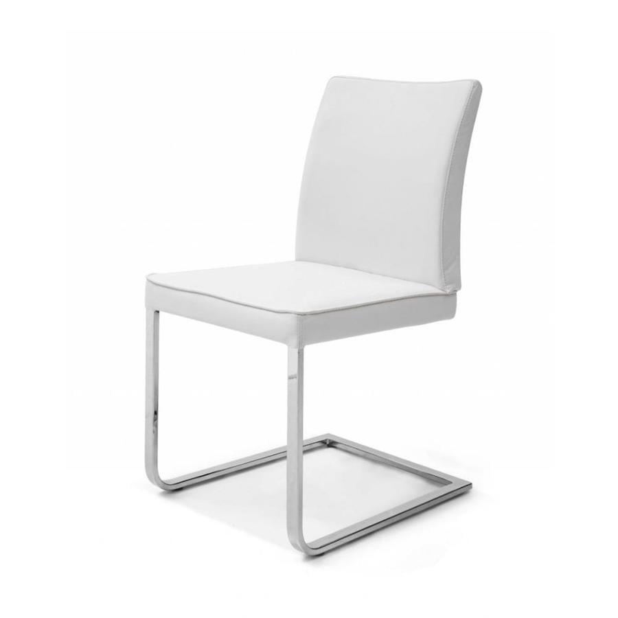 Homeroots Contemporary White Faux Leather Chrome Dining Chair In The Dining Chairs Department At Lowes Com