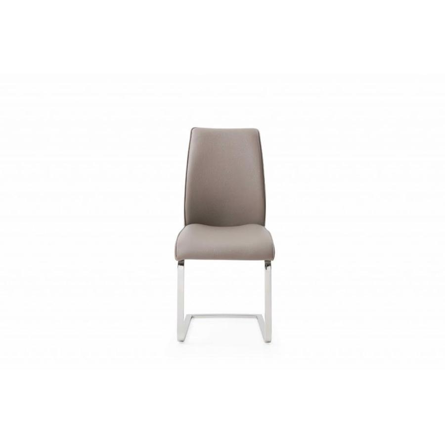 Homeroots Taupe Faux Leather And Metal Dining Or Accent Chair In The Dining Chairs Department At Lowes Com