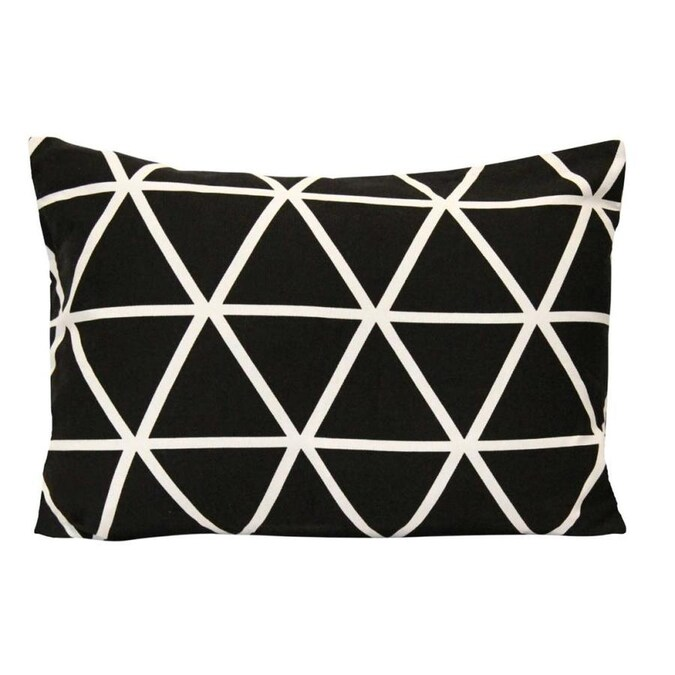 Homeroots Black And White Geometric Design Lumbar Pillow In The Outdoor Decorative Pillows Department At Lowes Com