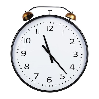 Homeroots 24 Round Metal Wall Clock With Bronze Twin Faux Bell In The Wall Accents Department At Lowes Com