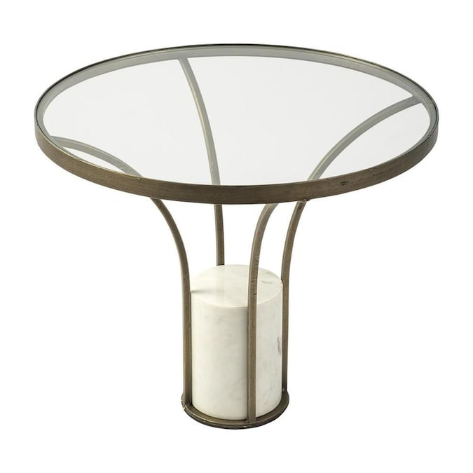 Mercana Jacinta Gold Glass Round End Table In The End Tables Department At Lowes Com