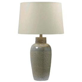 Stylecraft Home Collection 32 In Antique Brass Silver 3 Way Table Lamp With Fabric Shade In The Table Lamps Department At Lowes Com