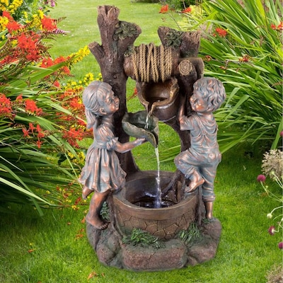 Beige Garden Water Feature Fountain 30 LED Ornament 69cm Christmas xmas gift