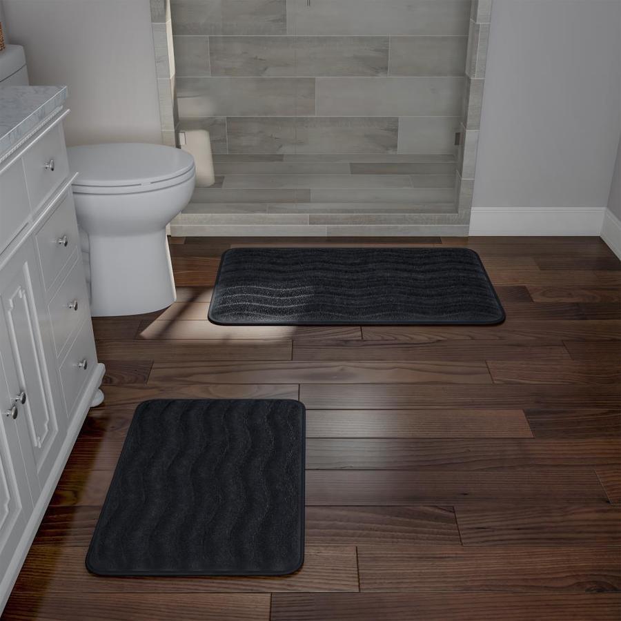 Hastings Home Hastings Home Bathroom Mats 32 25 In X 20 25 In Black Microfiber Memory Foam Bath Mat In The Bathroom Rugs Mats Department At Lowes Com
