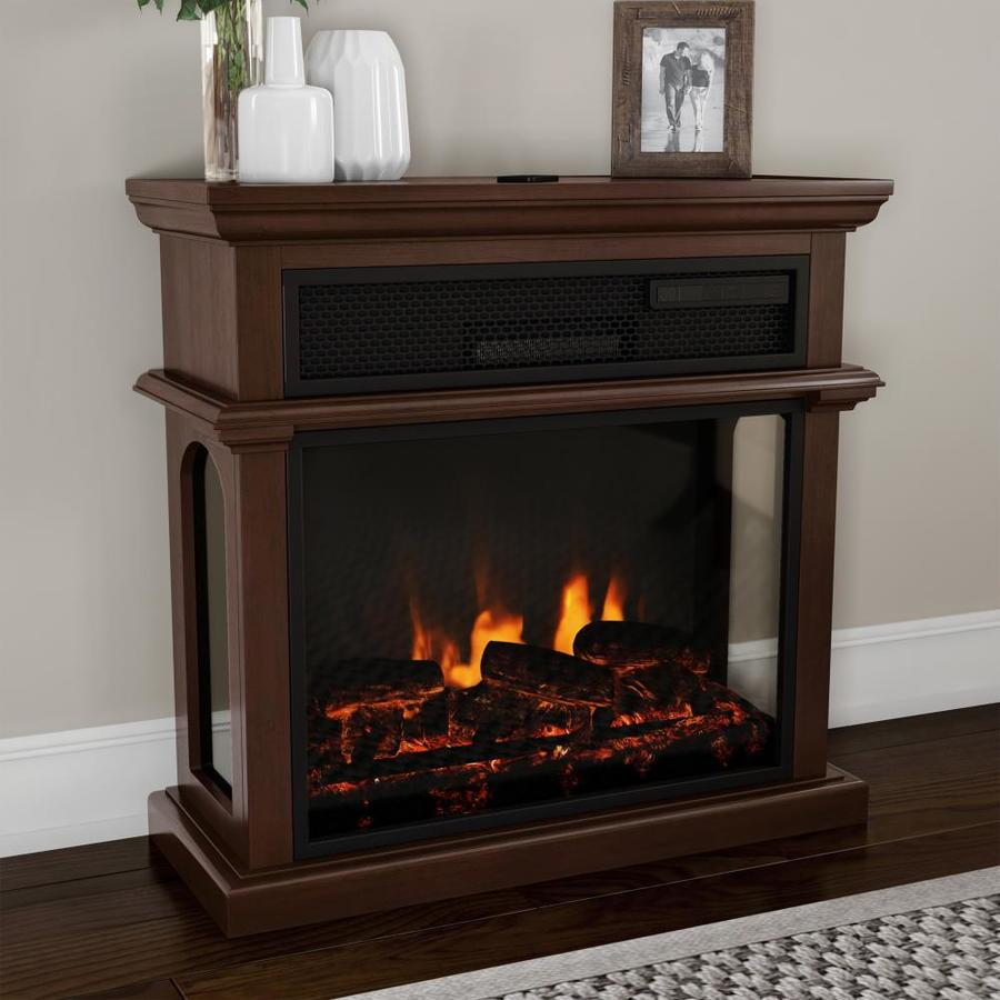 Hastings Home Freestanding Electric Fireplace 3 Sided Space Heater With Mantel Remote Control Led Flames And Faux Logs Adjustable Heat And Light By Hastings Home In The Electric Fireplaces Department At Lowes Com
