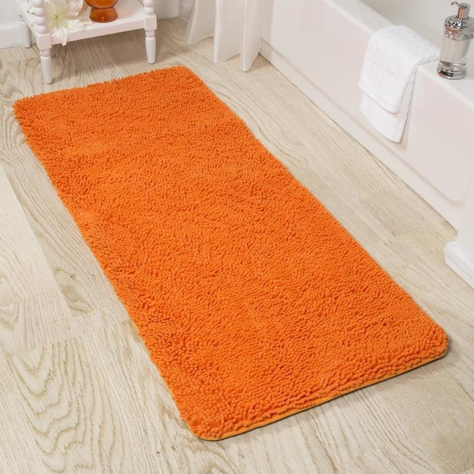 Hastings Home Hastings Home Bathroom Mats 24 In X 60 In Orange Polyester Memory Foam Bath Mat In The Bathroom Rugs Mats Department At Lowes Com