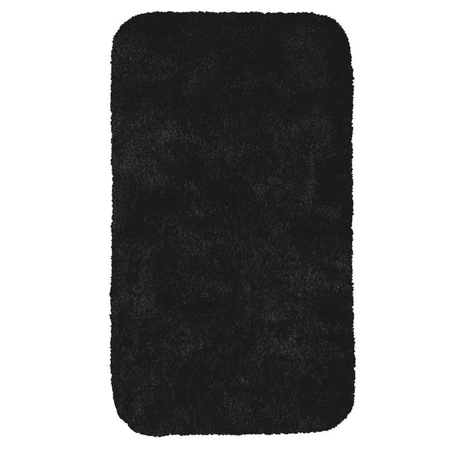 Mohawk Home Acclaim Bath Rug 40 In X 24 In Black Nylon Bath Rug In The Bathroom Rugs Mats Department At Lowes Com