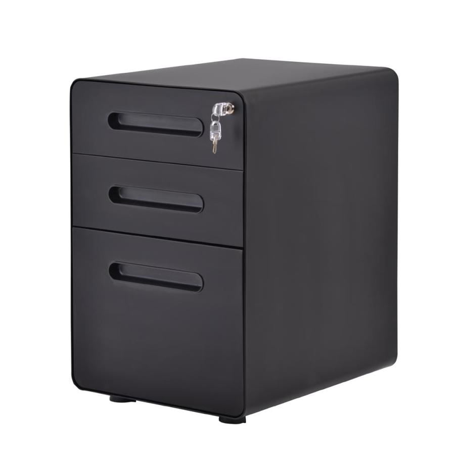 Casainc 3 Drawer Mobile Vertical Filing Cabinet In Black In The File Cabinets Department At Lowes Com